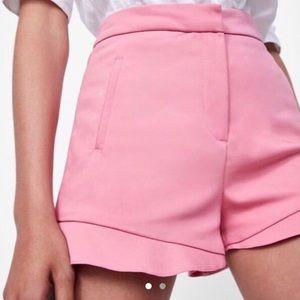 Zara pink peplum frill ruffle dress shorts